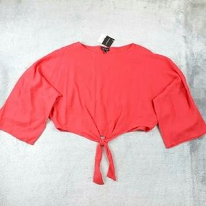 NWT Topshop Red Tie Front Dolman Long Sleeve Top 6